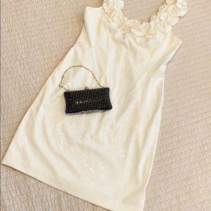 WHBM vanilla white ruffle strap cocktail dress 14